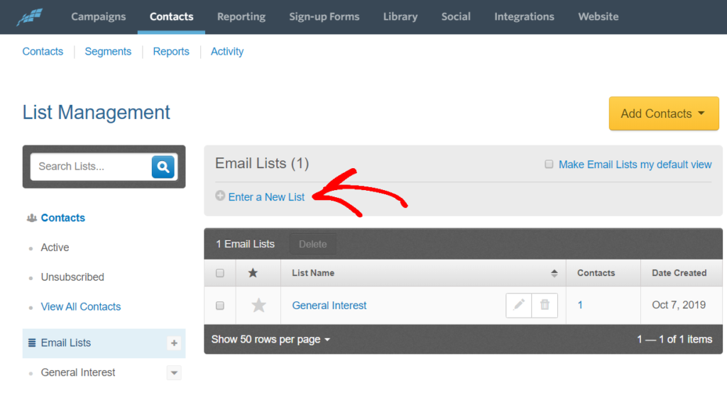 enter a new list to create an email newsletter
