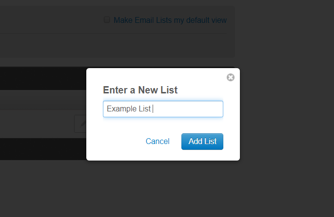 enter the name of your new list